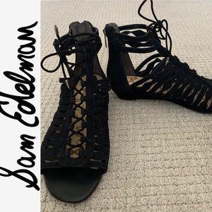 Sam Edelman Black Flat Suede Sandals